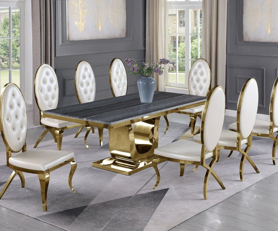 |White Faux Leather Chairs in Stainless Steel|Stainless Steel Gold Base & Beige Velvet Pleated Side Chairs in Chrome Gold Legs