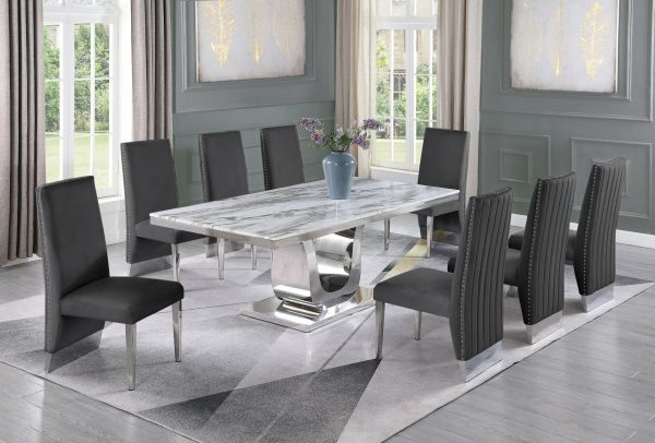  Stainless Steel Base & White Faux Leather Tufted Side Chairs in Chrome Legs