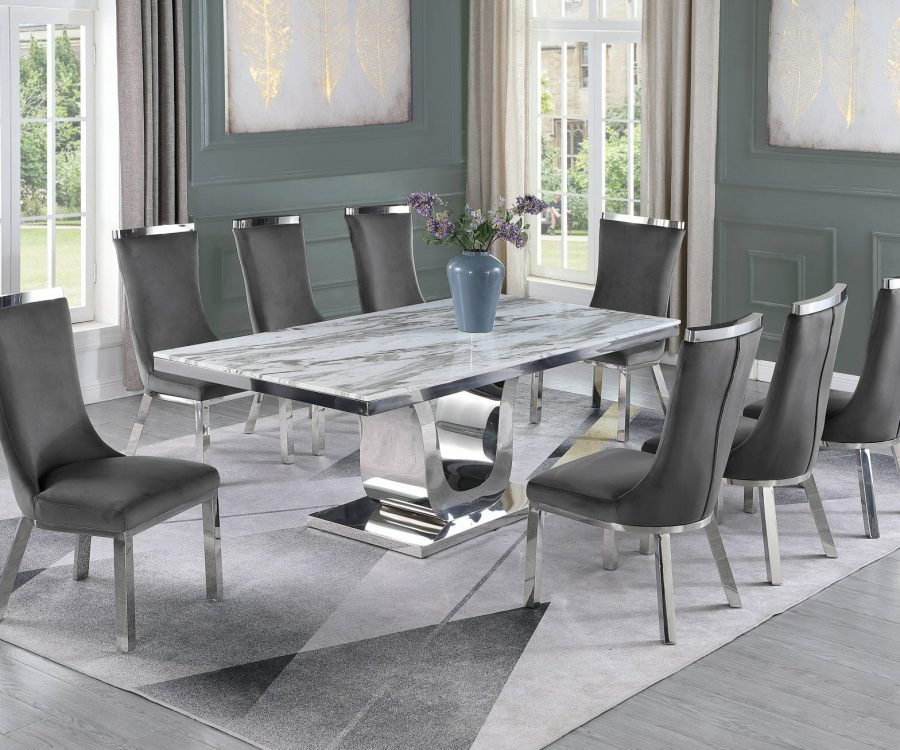 |6 Dark Grey Velvet Chairs|Stainless Steel Base & White Faux Leather Tufted Side Chairs in Chrome Legs