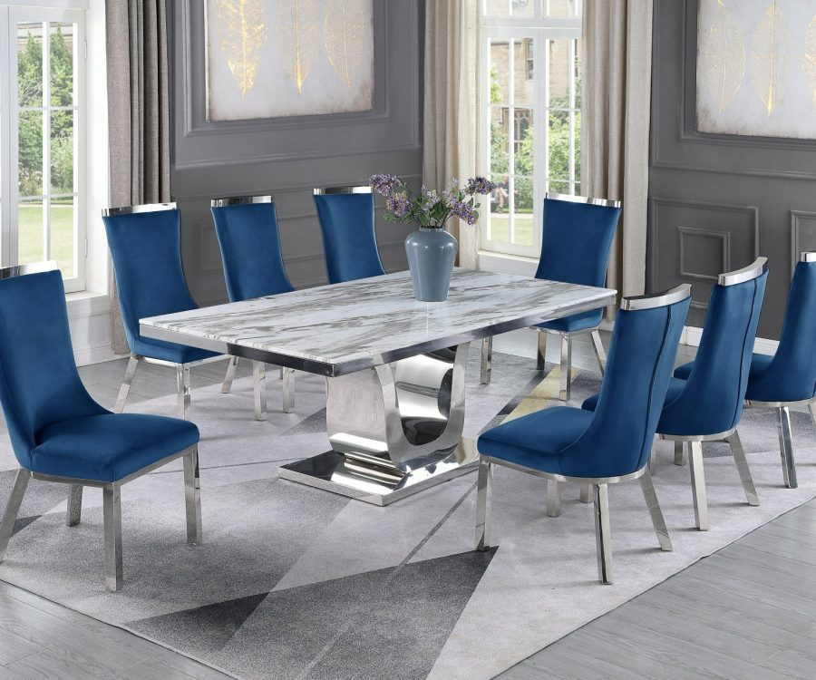 |6 Navy Blue Velvet Chairs|Stainless Steel Base & White Faux Leather Tufted Side Chairs in Chrome Legs