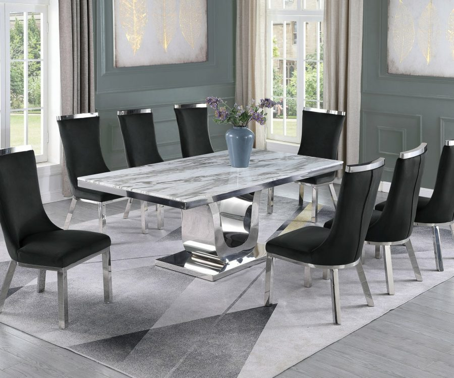 |6 Black Velvet Chairs|Stainless Steel Base & White Faux Leather Tufted Side Chairs in Chrome Legs