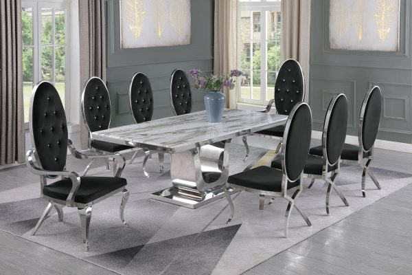  Marble Top Stainless Steel Base & White Faux Leather Tufted Side Chairs in Chrome Legs