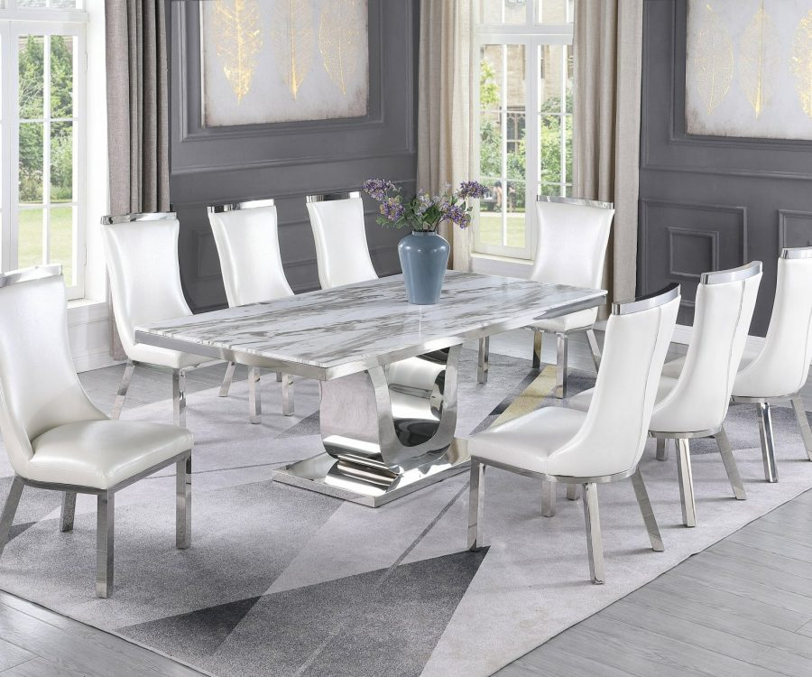 |6 White Faux Leather Chairs|Stainless Steel Base & White Faux Leather Tufted Side Chairs in Chrome Legs