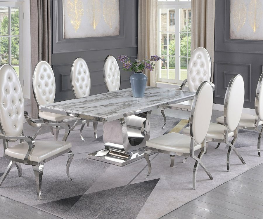 |Marble Top|Stainless Steel Base & White Faux Leather Tufted Side Chairs in Chrome Legs
