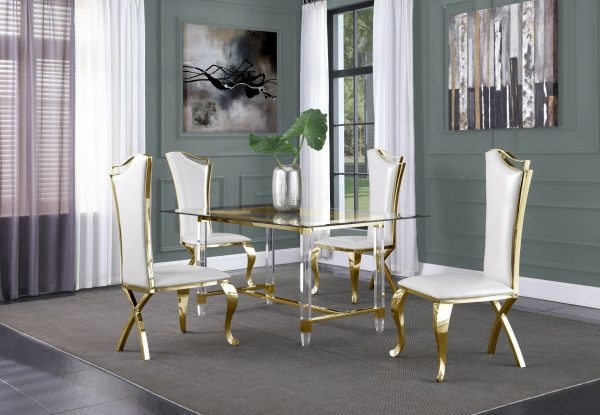 |Acrylic Feet with Stainless Steel Gold Trestle