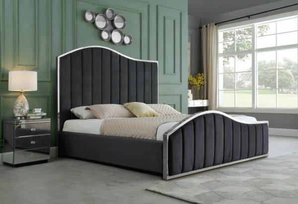 |Dark Grey  Pleated Velvet Platform Bed|Queen Bed