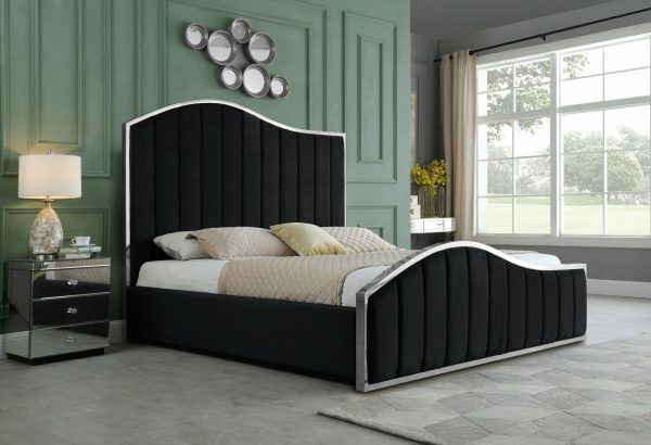 |Black Pleated Velvet Platform Bed|Queen Bed