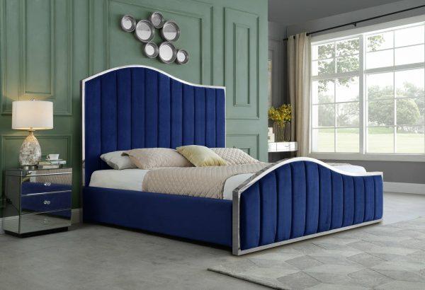 |Navy Blue Pleated Velvet Platform Bed|Queen Bed