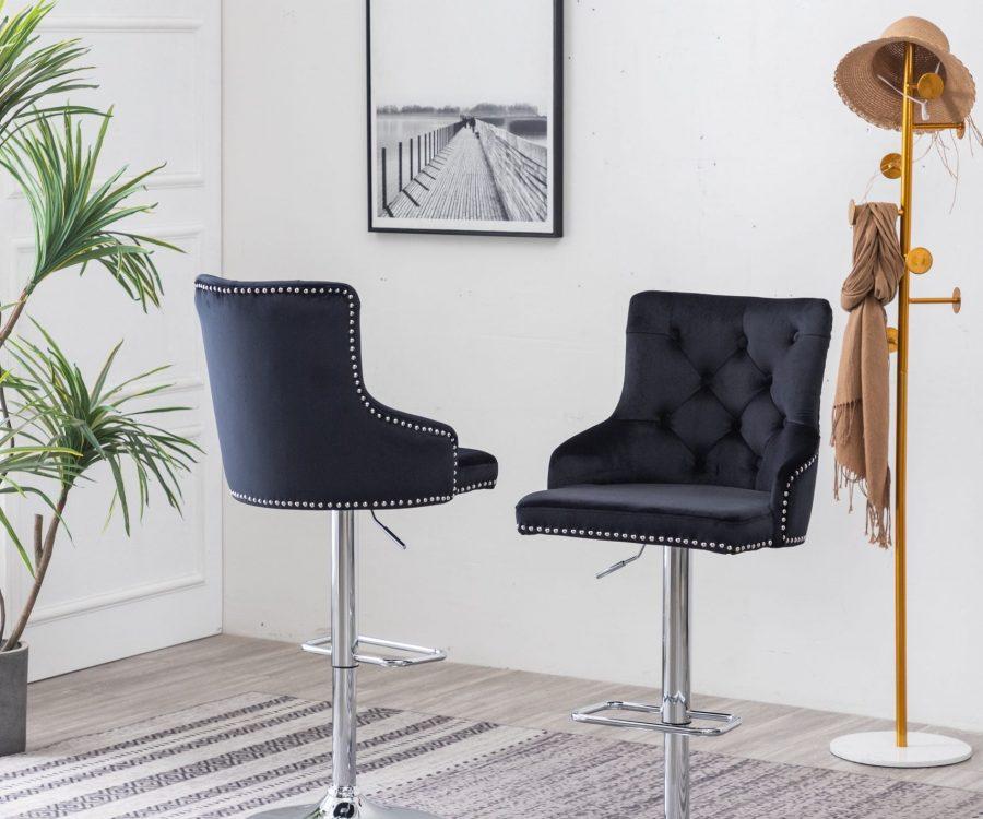 Tufted Velvet Upholstered Adjustable Bar Stool in Black