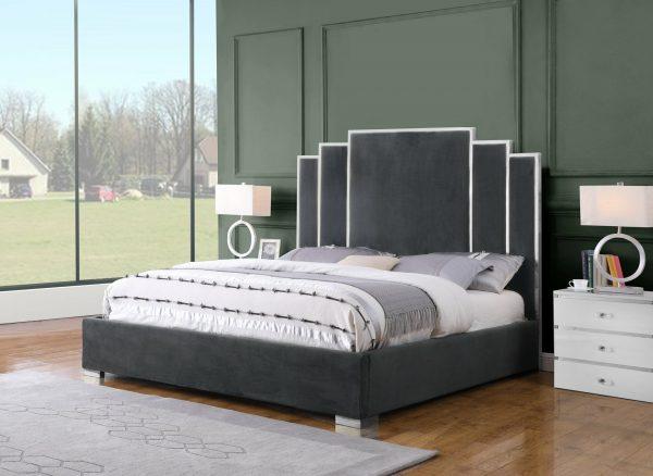  Dark Grey Velvet Uph. Platform Bed Queen Bed 
