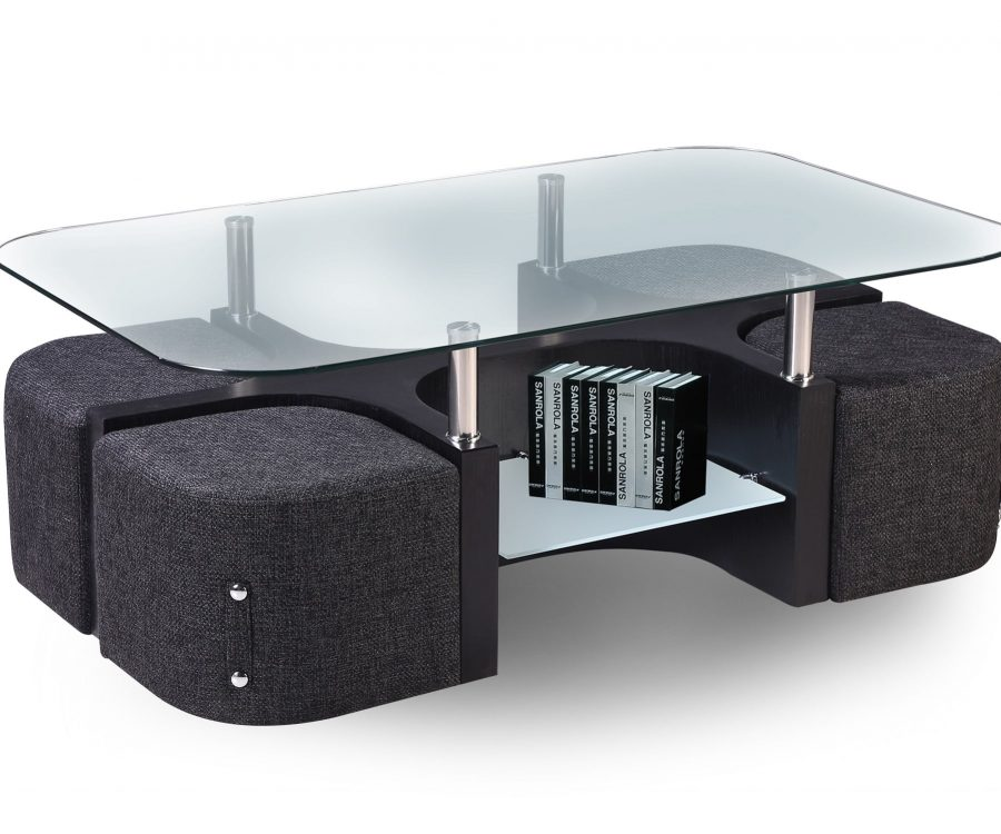 Glass Top Coffee Table with Woven Fabric Stools