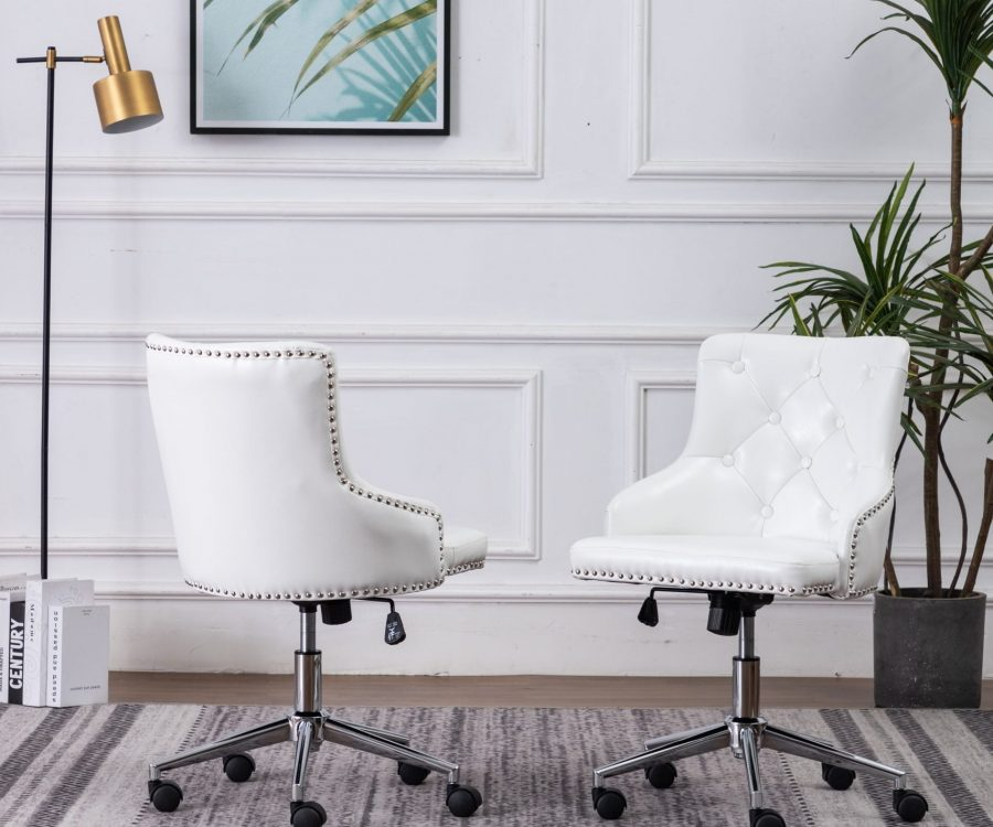 Tufted Faux Leather Adjustable Side Chair in White - Single Only