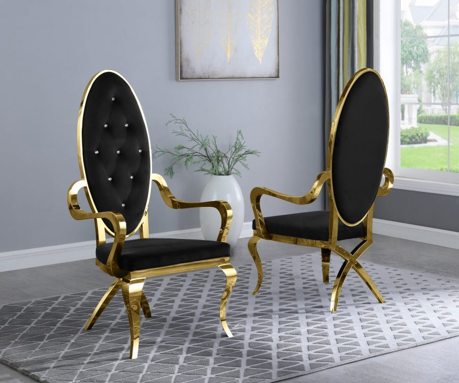 Black Velvet Side Arm Chair **Set of 2**