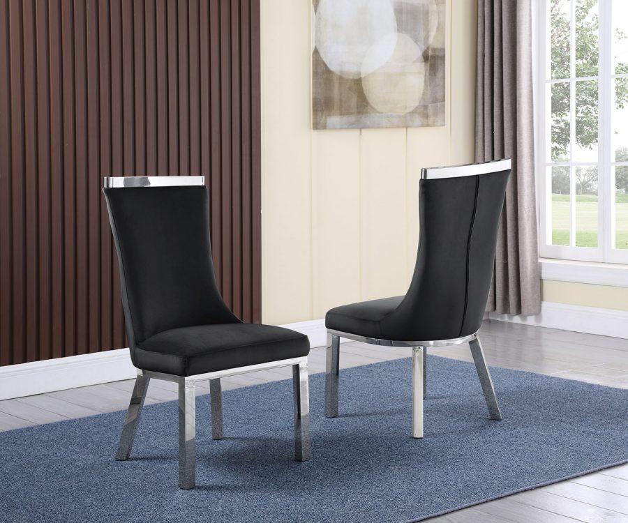 6 Black Velvet Chairs