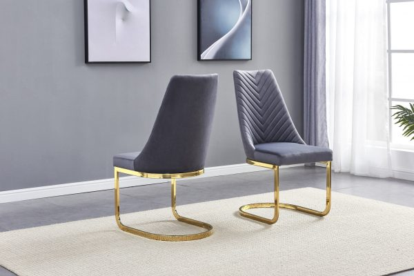 Dark Grey Tufted Velvet Side Chair with Chrome Gold Base - Set of 2