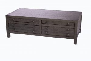 Rustic Style Coffee Table with 4-Drawer Storage|Rustic Dark Grey|