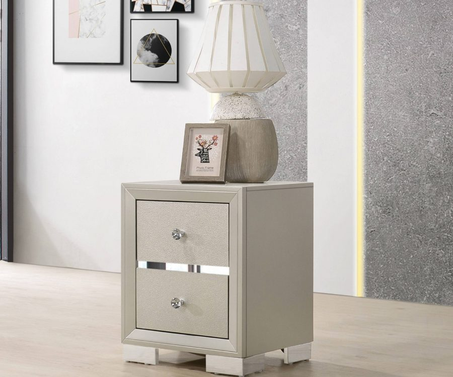 Wood Nightstand with 2 Drawers in The Color Silver Champagne