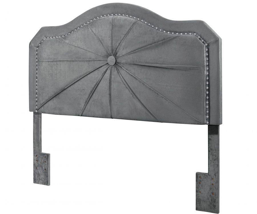 Headboard with Tufted Button in the Middle and Nailhead Trim Around. 3 Colors to Choose: Black