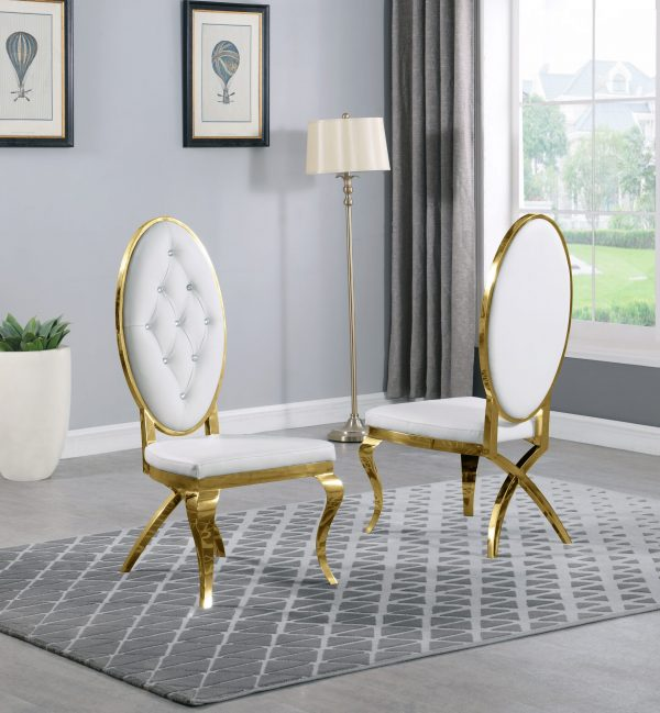 White Faux Leather Chairs and Arm Chairs in Stainless Steel