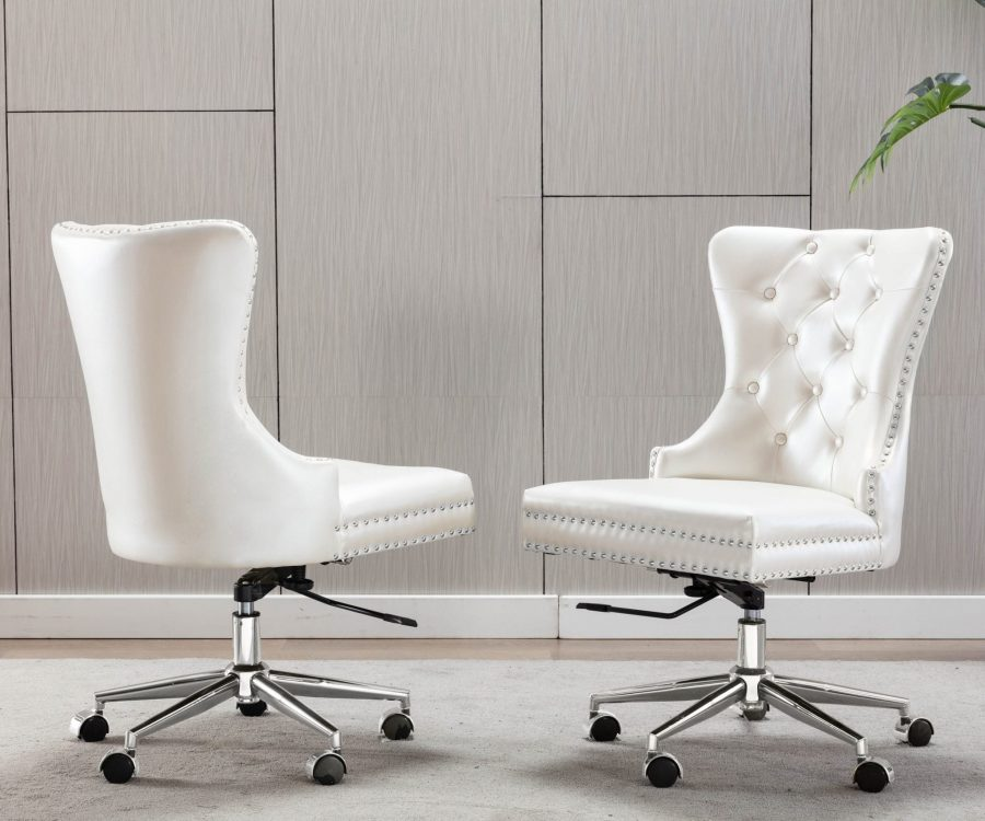 Tufted Faux Leather Adjustable Wingback Chair|White - Single Only