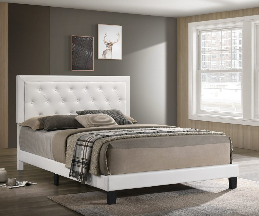 White Faux Leather Panel Bed - Twin