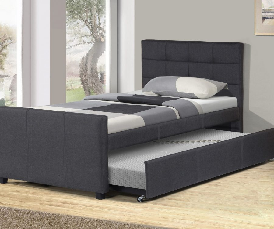Twin Bed With Twin Trundle in grey linen fabric