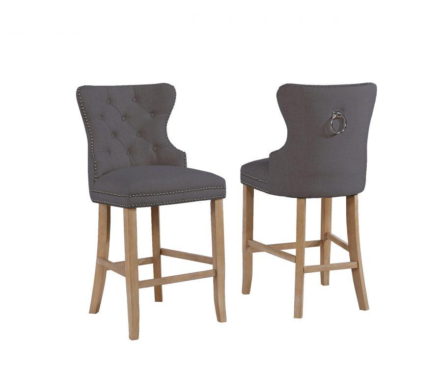 "24"" Tufted Linen Upholstered Bar Stool in Grey"