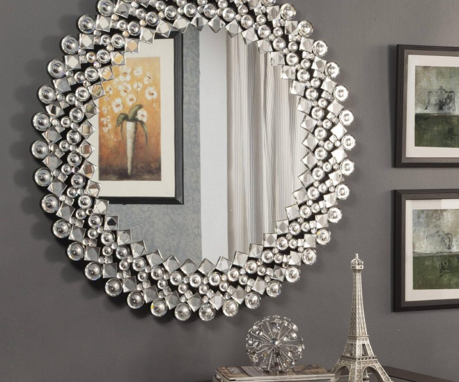 Wall Mirror with Crystals Bordering the Frame