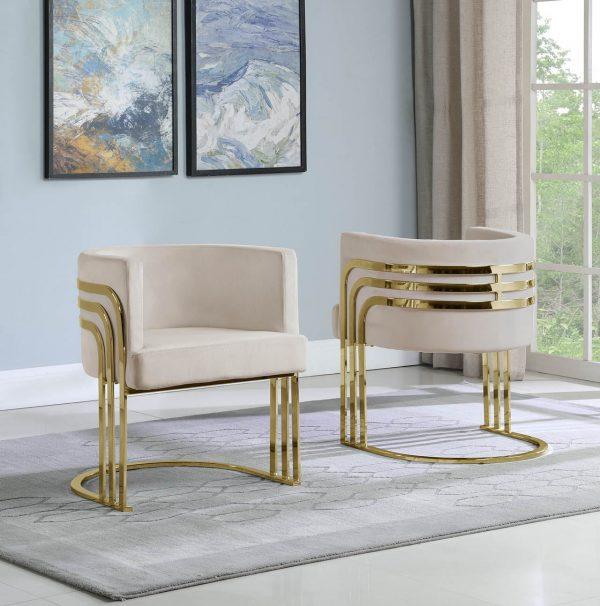 Velvet Barrel Chair|Gold Base
