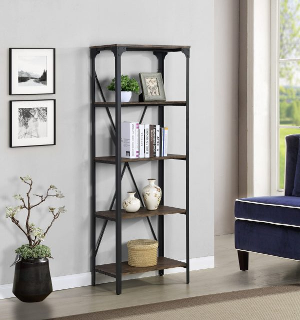  Wooden 5 Tier Bookcase with Metal Frame  