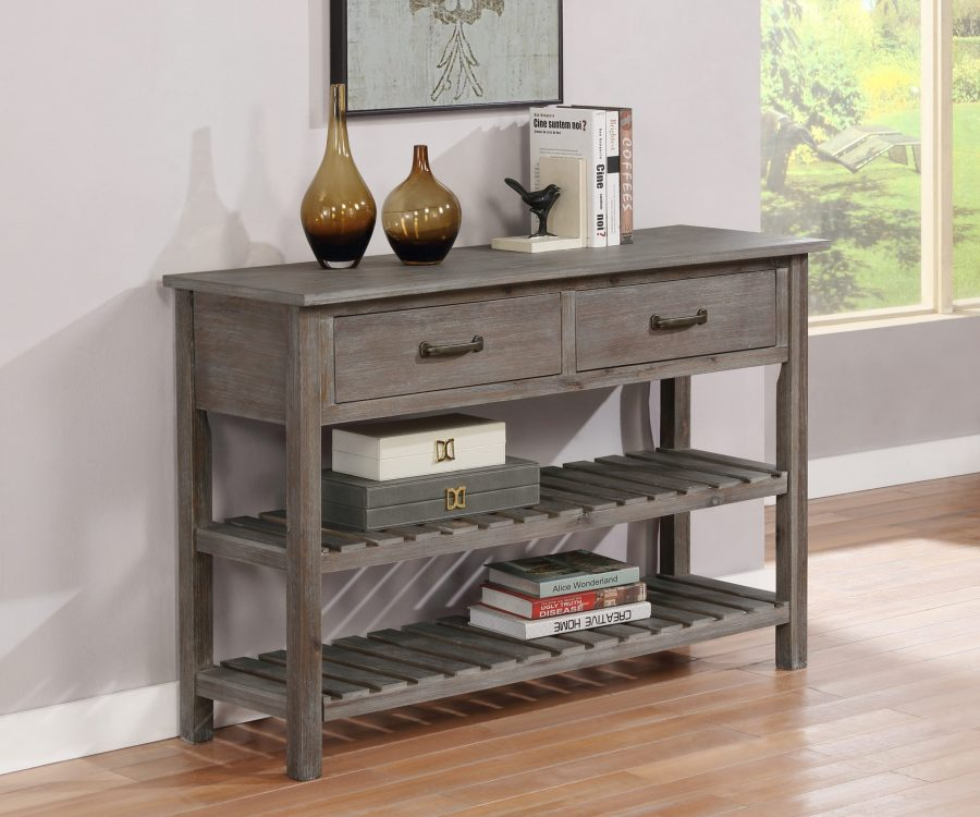Wood Server with 2 Drawers and 2 bottom shelves. Available in grey|Beige