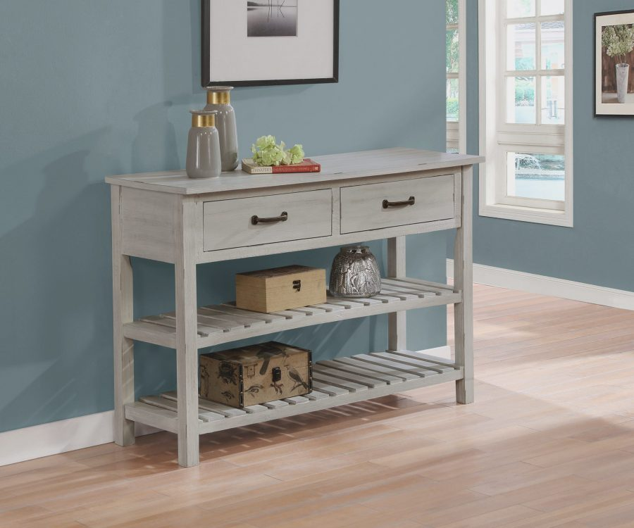 Wood Server with 2 Drawers and 2 bottom shelves. Available in grey