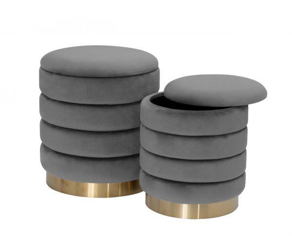 """ 14"""" Velvet Round Storage Ottoman (Set of 2)  """
