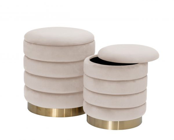 """14"""" Velvet Round Storage Ottoman (Set of 2) """