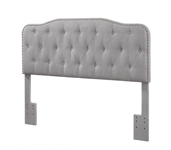  Headboard with Tufted Buttons and Nailhead Trim. 2 Colors to Choose: Smoke grey or Fog Beige 