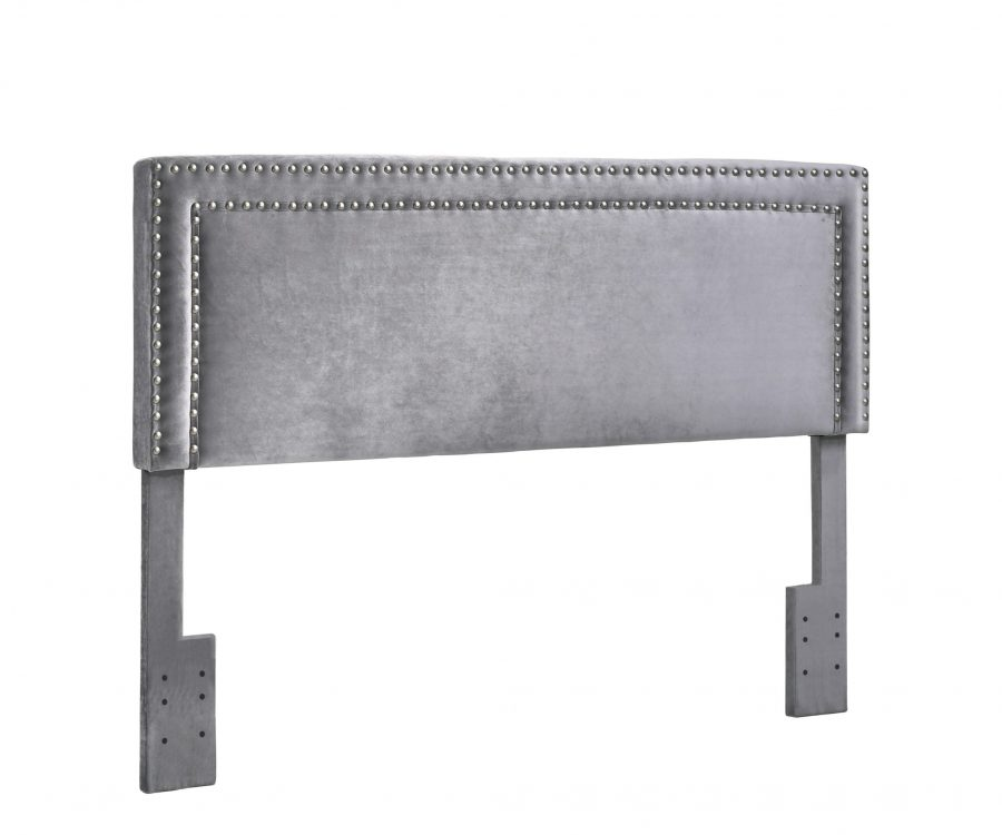 Headboard with Nailhead Trim. 2 Colors to Choose: Navy Blue or grey.