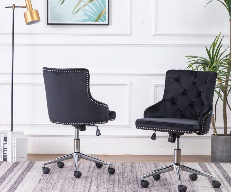 Tufted Velvet Upholstered Adjustable Side Chair in Black - Single Only