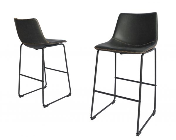 |Faux Leather Charcoal Barstool|
