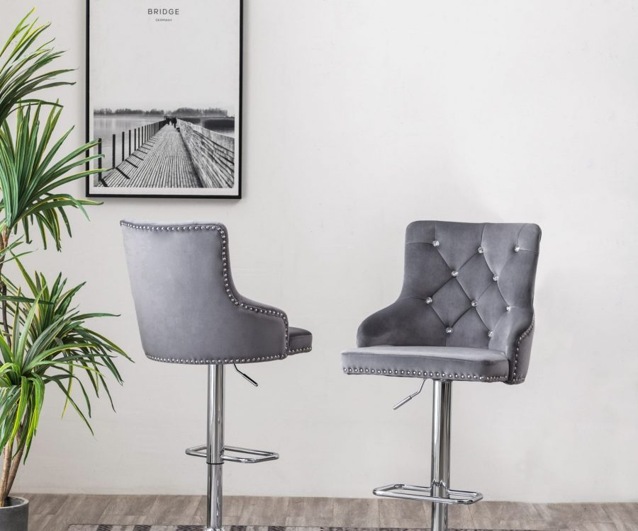  Tufted Velvet Upholstered Adjustable Bar Stool in Dark Grey