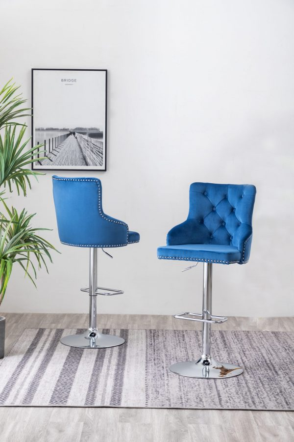 Tufted Velvet Upholstered Adjustable Bar Stool in Navy Blue