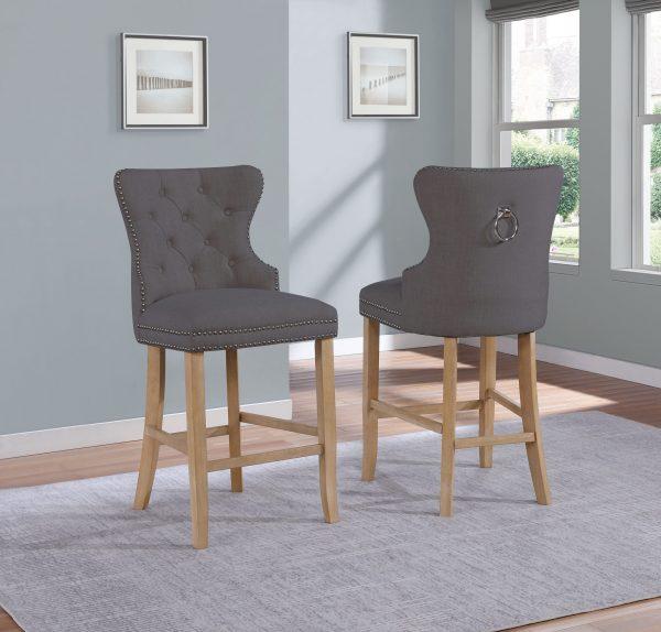 " 24"" Tufted Linen Upholstered Bar Stool in Grey "