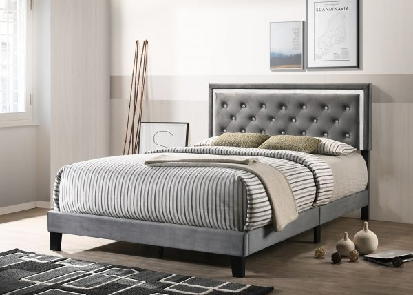 Dark Grey Velvet Uph. Panel Bed with Accents - Twin