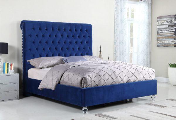 Navy Blue Velvet Uph. Panel Bed with Acrylic Feet - Queen