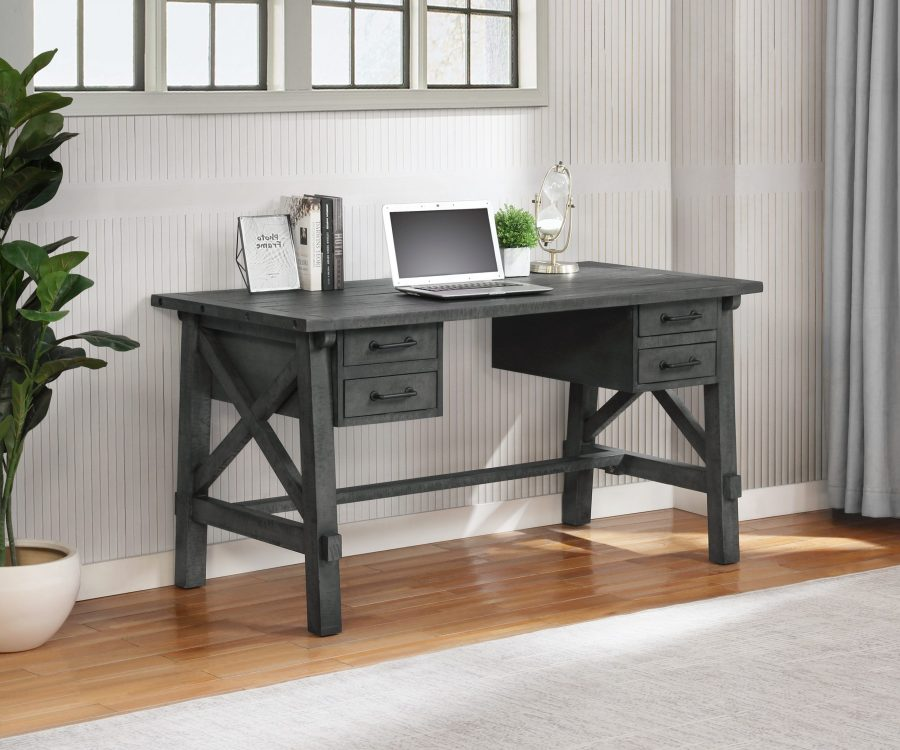 Computer Desk with Drawers in a grey Wood Finish