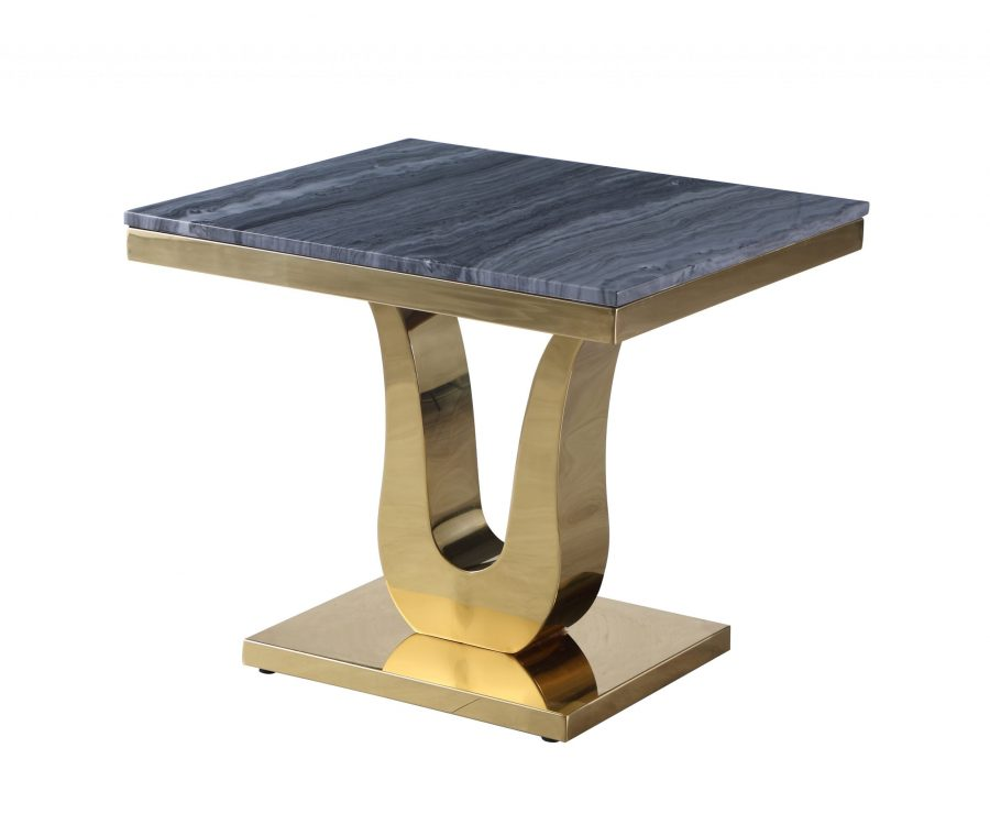 Marble End Table with Stainless Steel Gold Base