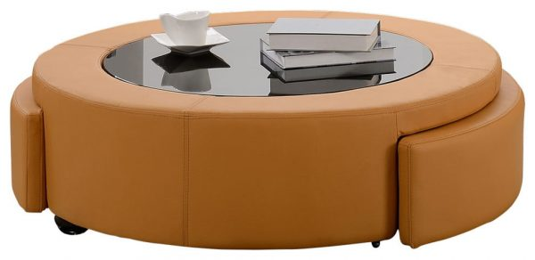  Bonded leather coffee table with two drawers and three colors to Choose: orange