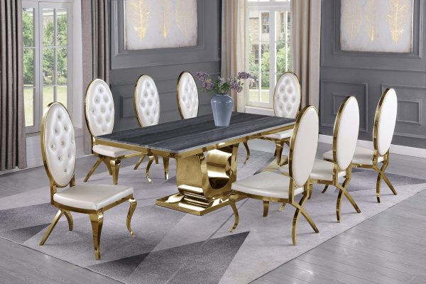  White Faux Leather Chairs in Stainless Steel Stainless Steel Gold Base & Beige Velvet Pleated Side Chairs in Chrome Gold Legs