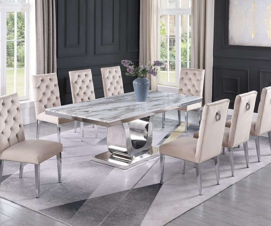 |Stainless Steel Base & White Faux Leather Tufted Side Chairs in Chrome Legs