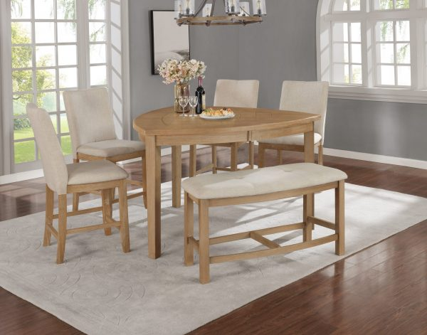 Petal-Shaped Table & Chairs in Beige 4 Chairs & 1 Bench in Beige 