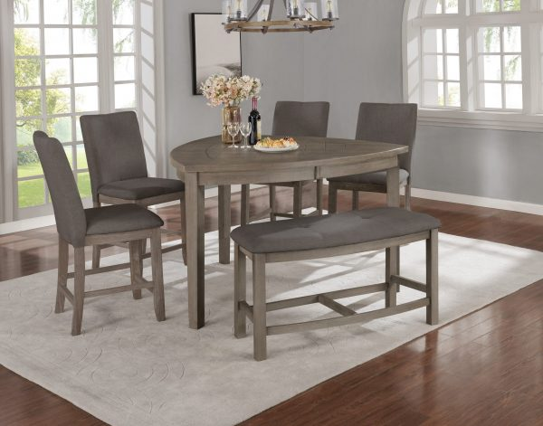 Petal-Shaped Table & Chairs in Dark Grey|4 Chairs & 1 Bench in Dark Grey|